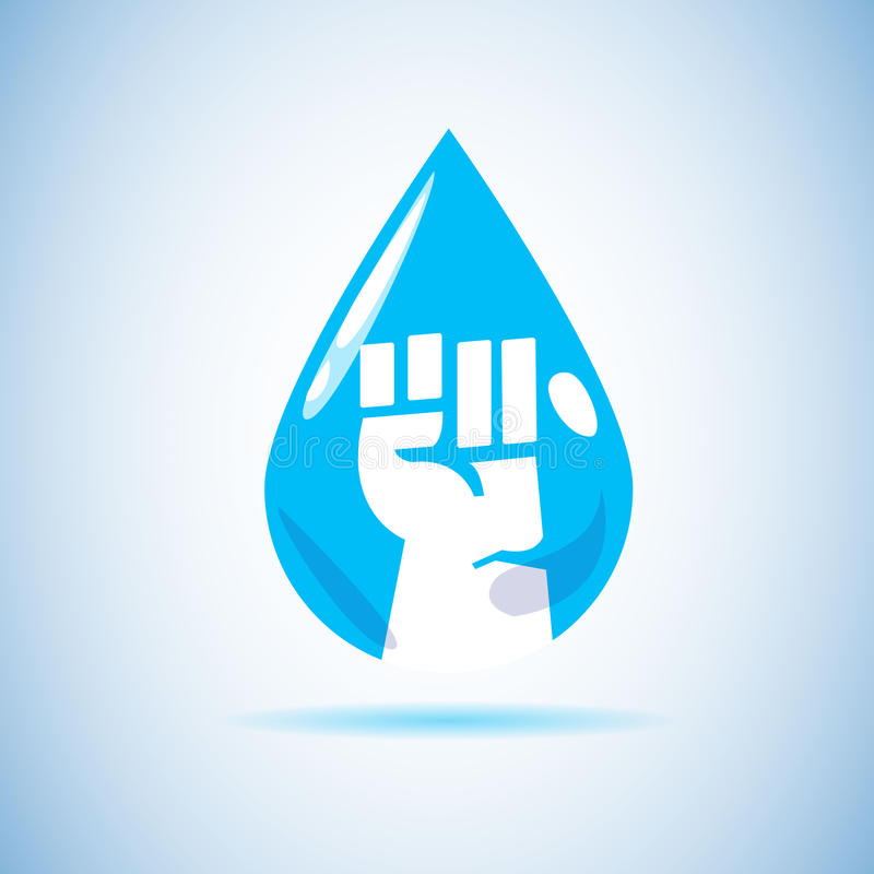 Main de poing à l'intérieur de baisse de l'eau sauvez le concept de l'eau - illustration stock