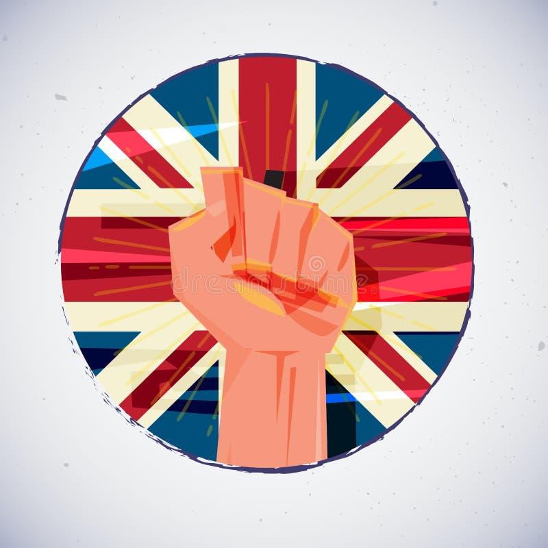 Main de poing avec le drapeau des Anglais Union Jack illustration de vecteur