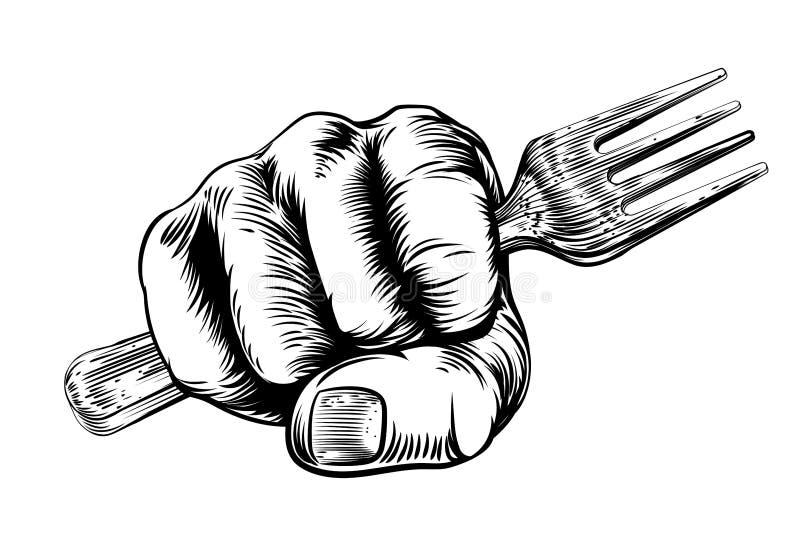Main de poing de gravure sur bois en fourchette illustration libre de droits