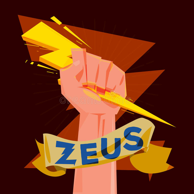 Main de poing tenant le coup de foudre Zeus et concept de puissance - illustration de vecteur