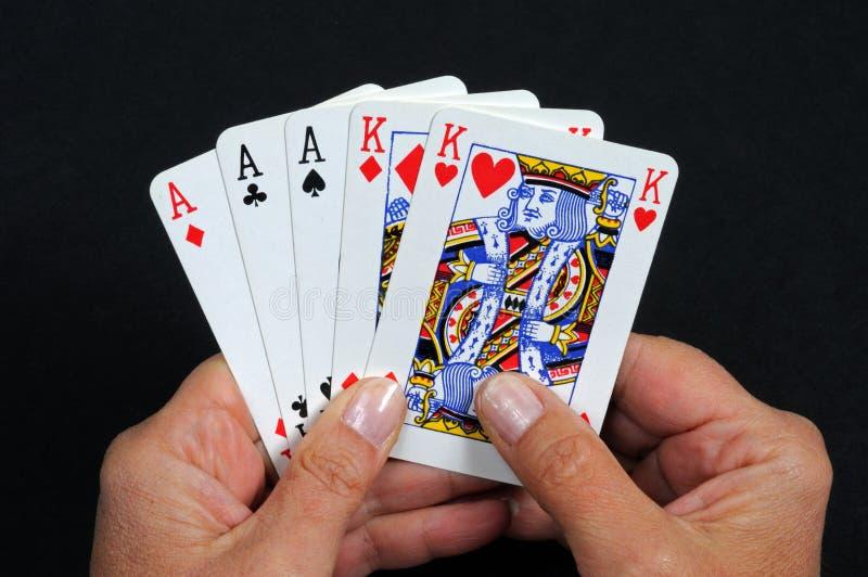 Main de poker de pleine maison. photos libres de droits