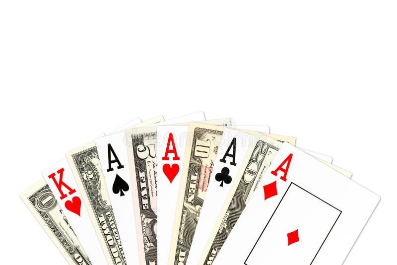 Main de poker quatre d'une sorte dans les as avec des billets de banque de nous-dollar illustration libre de droits