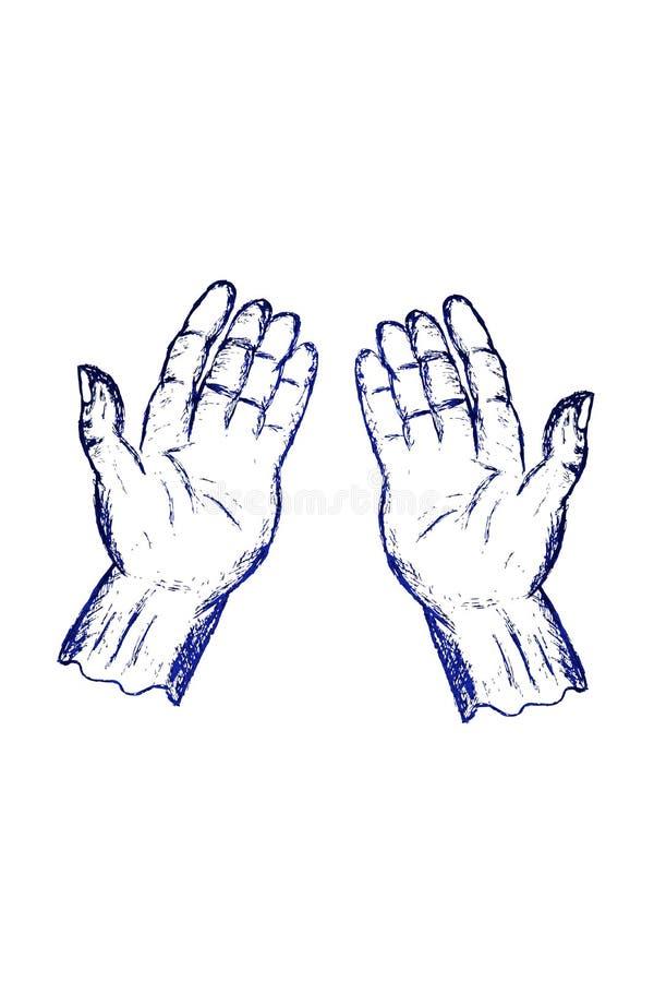 Main de prière de position de griffonnage illustration de vecteur