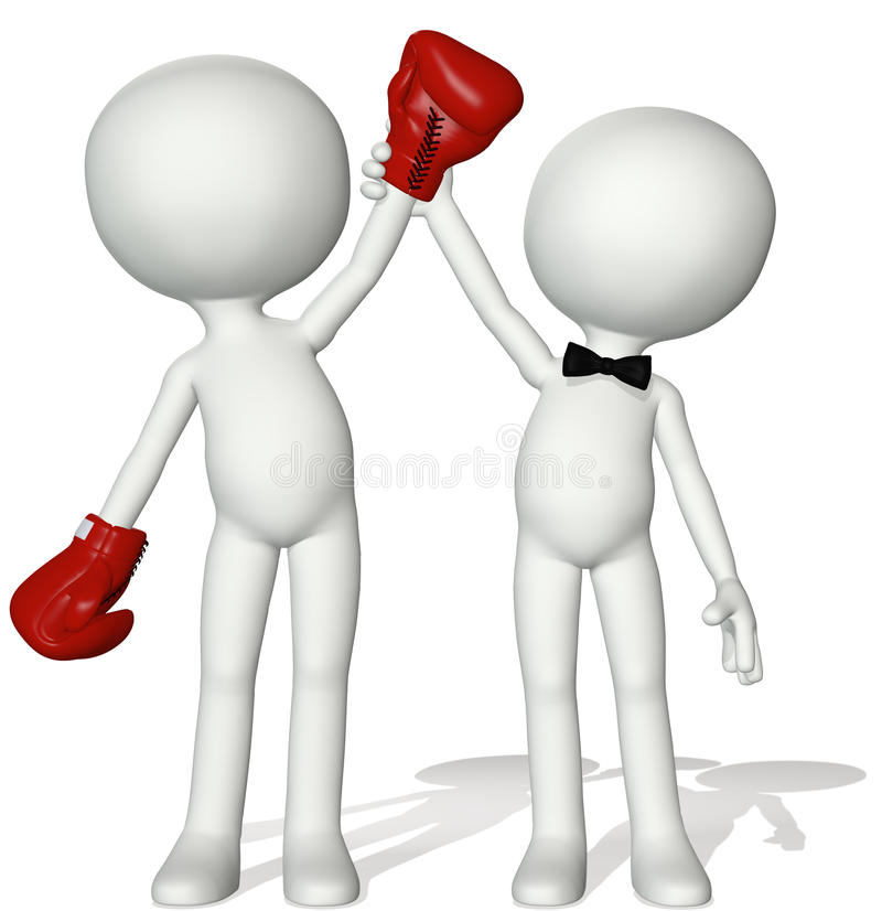 Main de référence de boxeur de gagnant vers le haut de victoire de victoire illustration libre de droits
