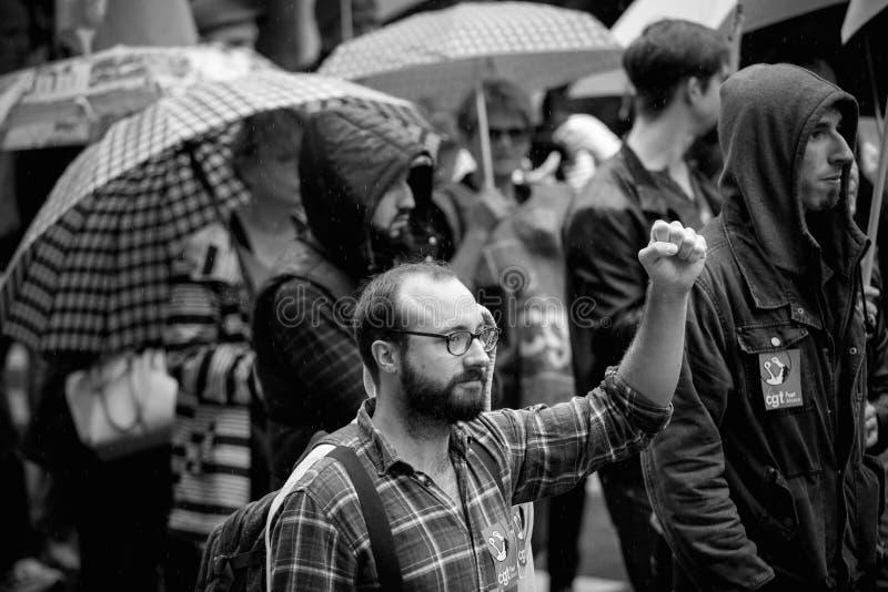 Main de Raisen par le protestataire masculin à la protestation d'Anti-macro image stock