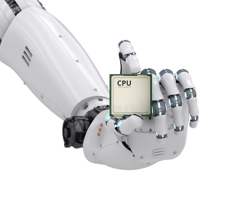 Main de robot tenant la puce d'unité centrale de traitement illustration de vecteur