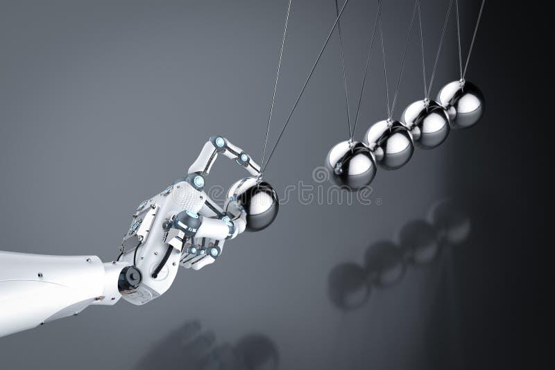Main de robot tenant le berceau de newton image stock