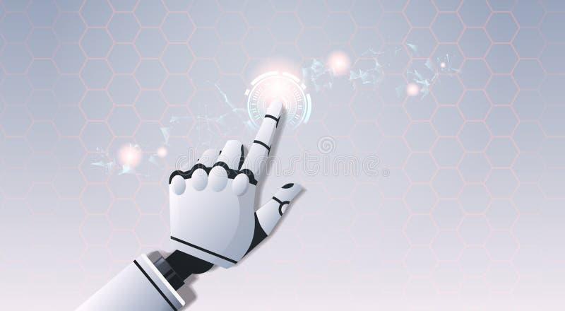 Main de robot touchant la technologie futuriste numérique virtuelle abstraite d'intelligence artificielle d'écran tactile d'inter illustration libre de droits
