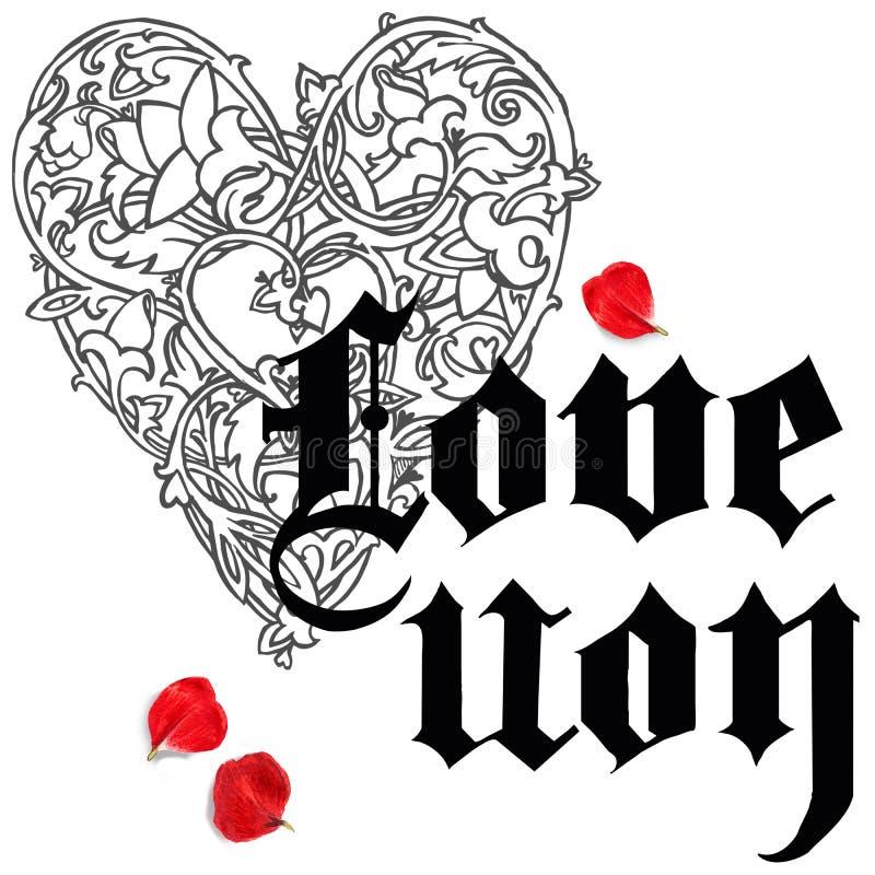 Main de Saint Valentin dessinant le fond gothique des textes Coeur de rouge d'aquarelle illustration stock