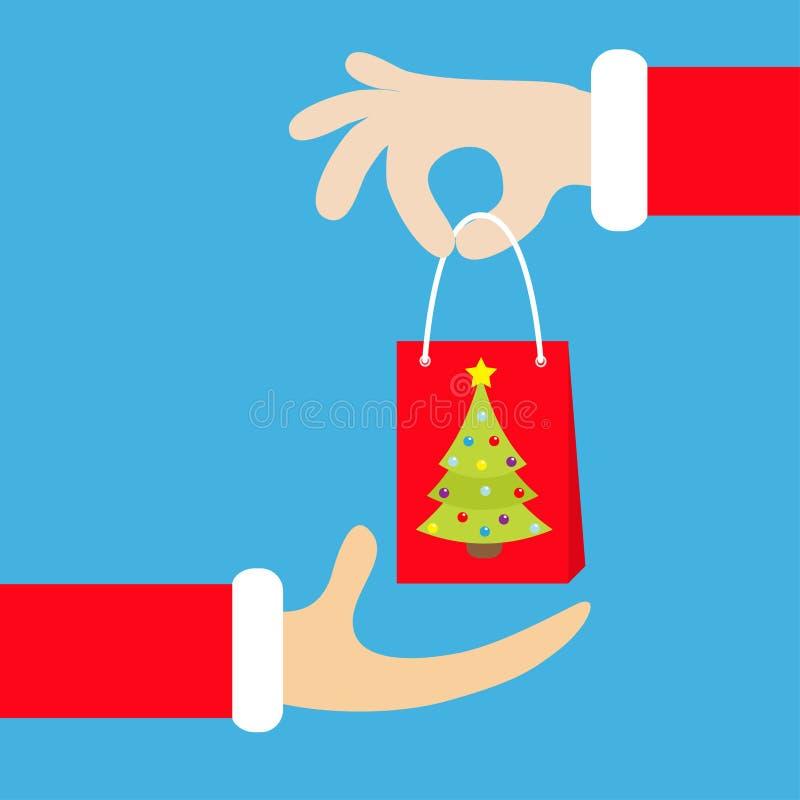 Main de Santa Claus donnant prenant le sac de papier de achat avec l'arbre de sapin illustration de vecteur