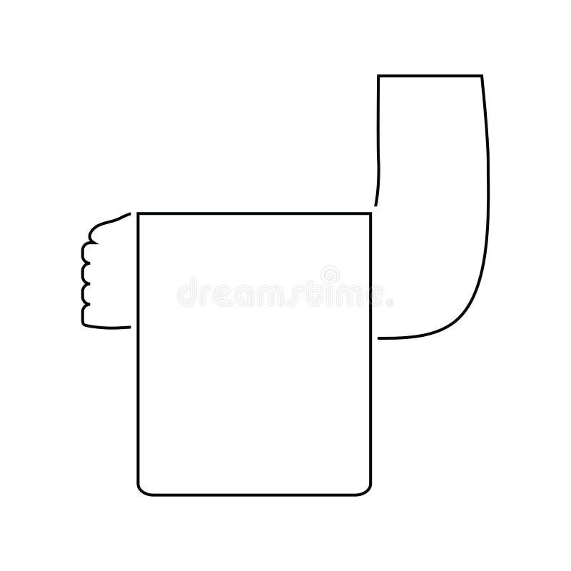 Main de serveur avec l'icône de serviette illustration de vecteur
