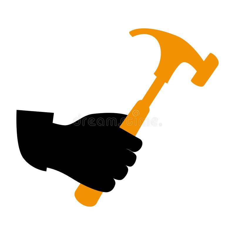 Main de silhouette tenant l'icône de marteau illustration stock