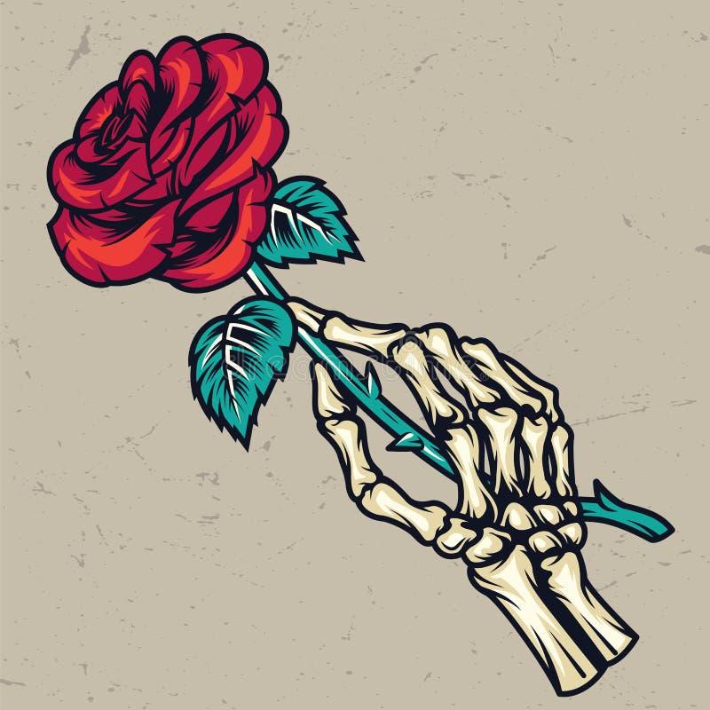Main de squelette colorée tenant une belle rose illustration de vecteur