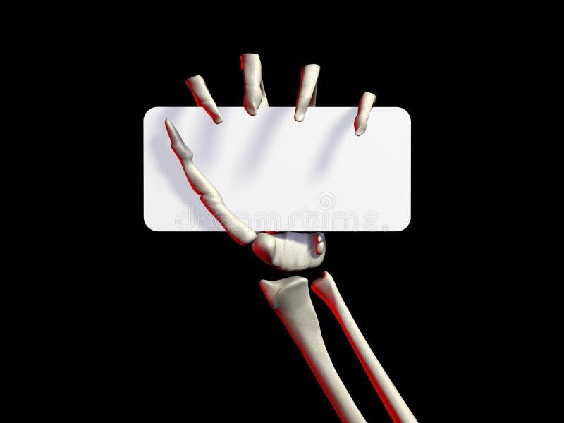 Main de squelettes retenant une carte de visite professionnelle de visite sur le noir illustration stock