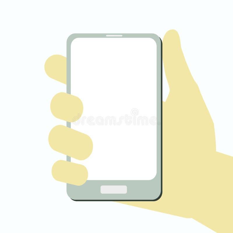Main de vecteur avec le smartphone et l'écran vide illustration libre de droits