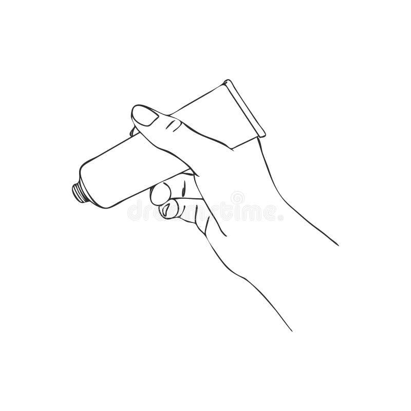 Main de vecteur avec le tube crème cosmétique illustration stock