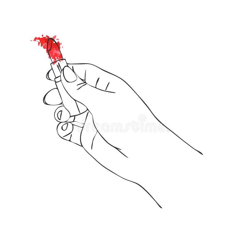 Main de vecteur avec le tube de rouge à lèvres illustration de vecteur