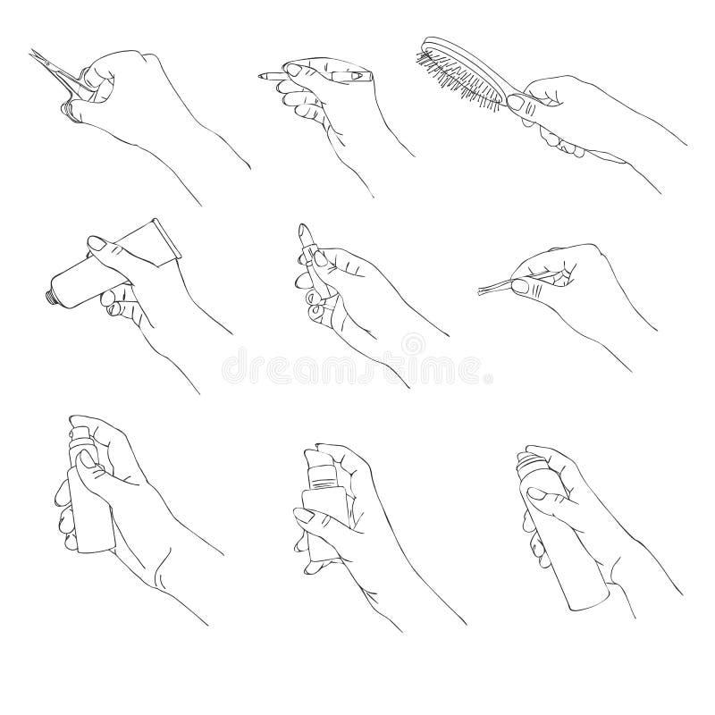 Main de vecteur avec les accessoires cosmétiques illustration libre de droits