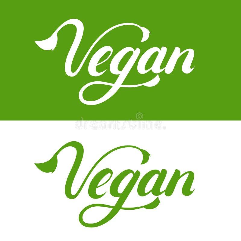 Main de Vegan écrite marquant avec des lettres le logo, label, emblème, icône illustration libre de droits
