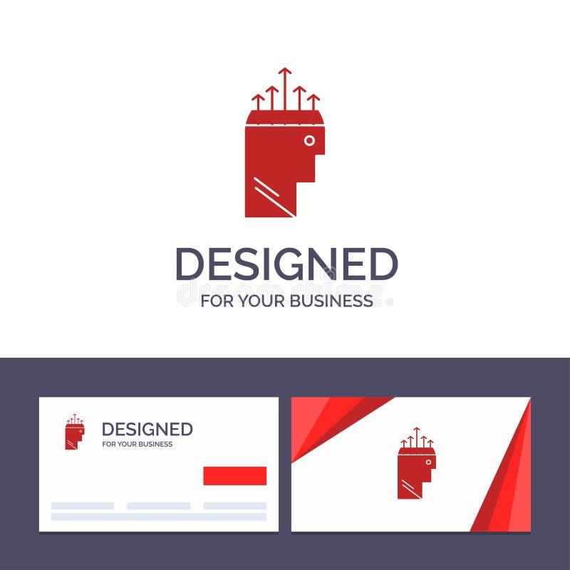 Main de visite de calibre créatif de carte de visite professionnelle et de logo, hypnose, données, illustration de vecteur de psy illustration de vecteur