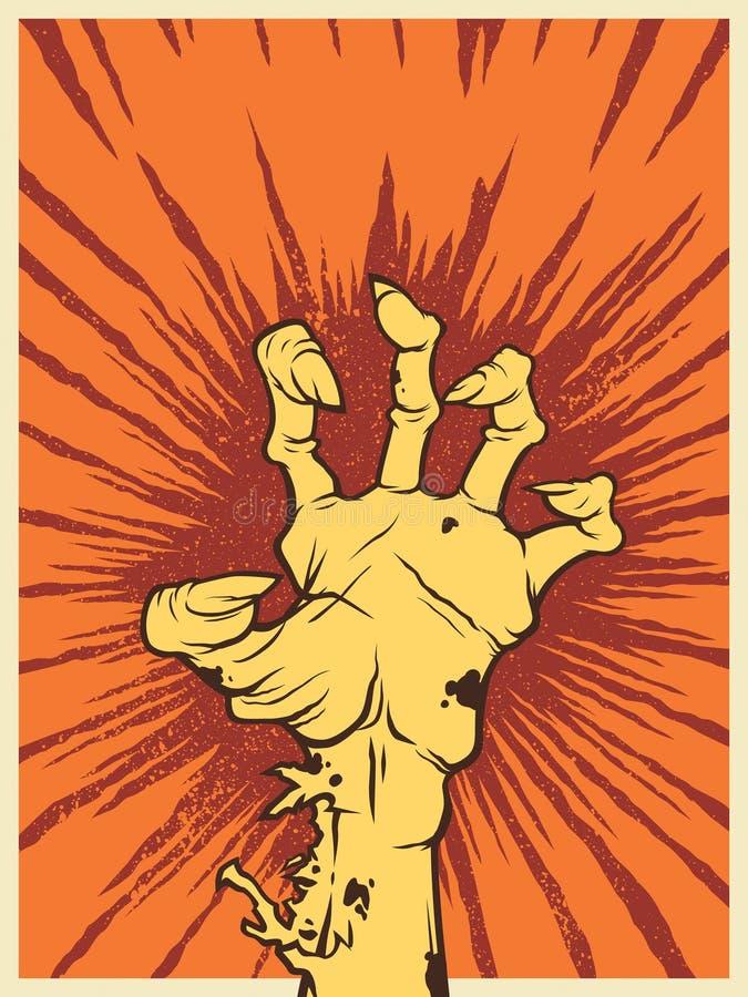 Main de zombi avec colère illustration libre de droits