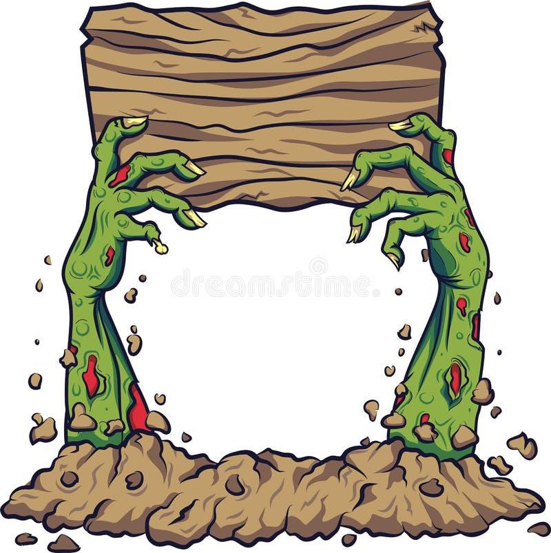 Main de zombi de bande dessinée tenant le conseil en bois illustration libre de droits
