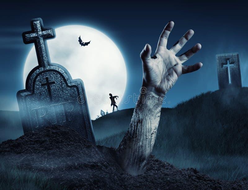 Main de zombi sortant de sa tombe photos libres de droits