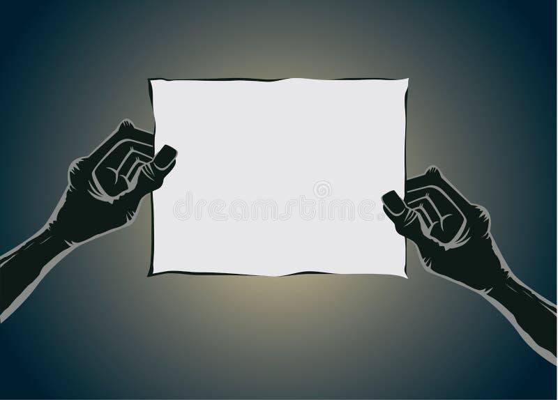 Main de zombi tenant le vieux papier aucun texte illustration stock