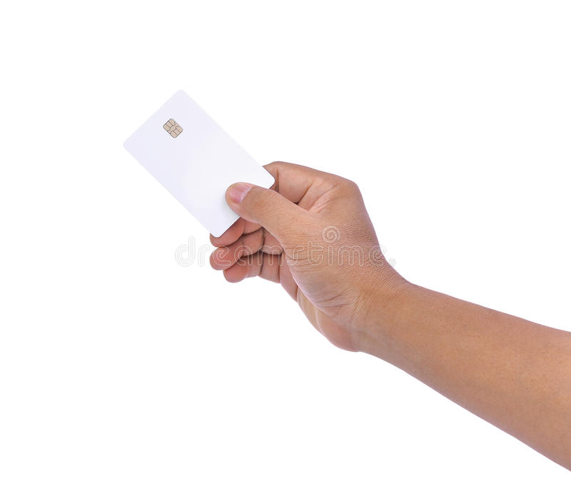 Main des hommes asiatiques tenant la carte de crédit en blanc, carte de distributeur bancaire images libres de droits