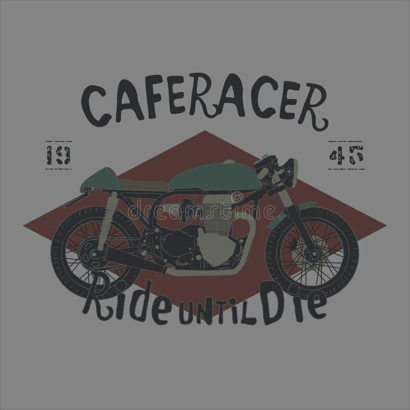 Main-dessin de vecteur de moto de coureur de café de style de vintage image libre de droits