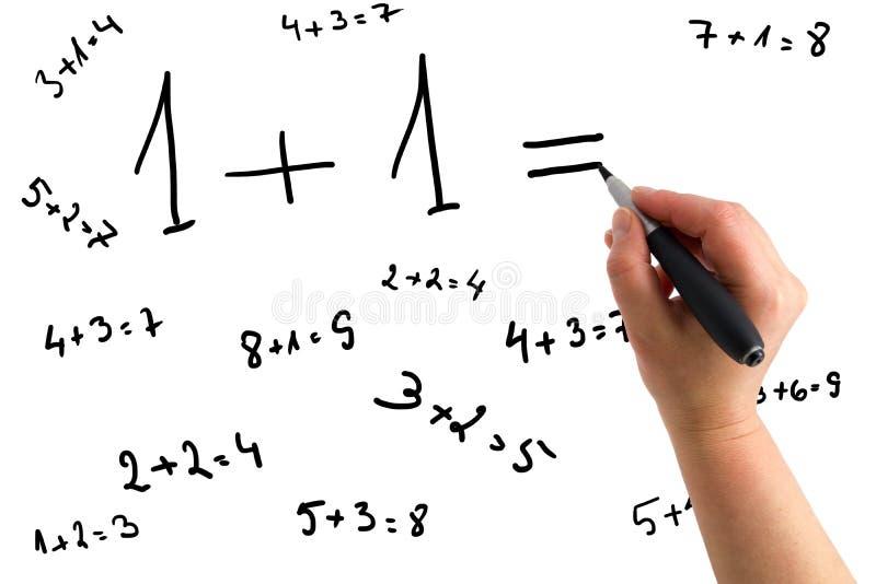 Main dessinant des équations mathématiques photo libre de droits