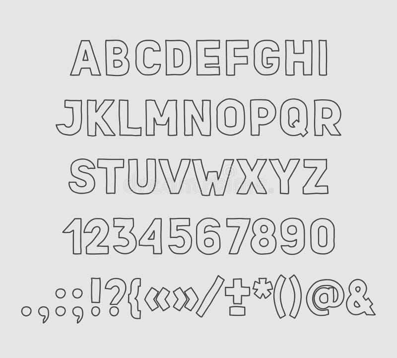 Main dessinant l'écriture faite main d'alphabet de vintage illustration libre de droits