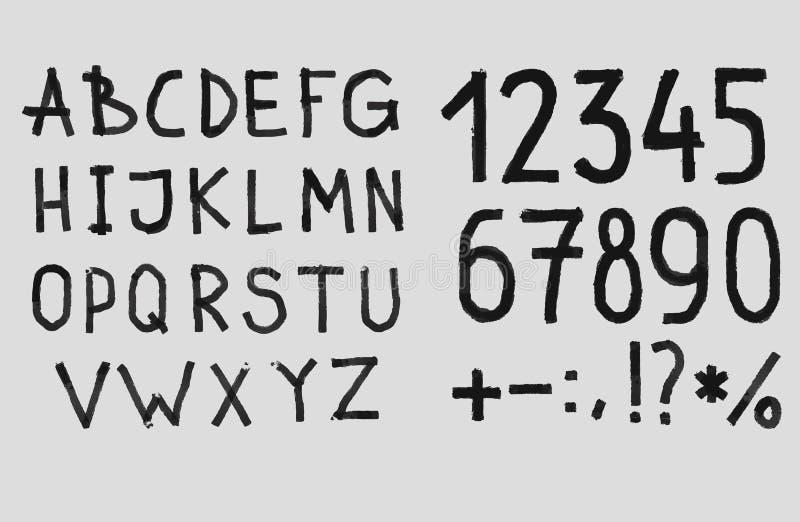 Main dessinant l'alphabet texturisé approximatif d'ABC de craie illustration stock