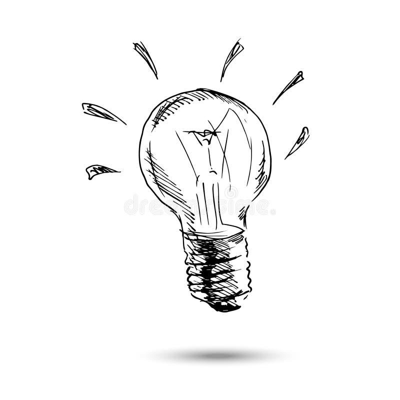 Main dessinant l'ampoule illustration de vecteur