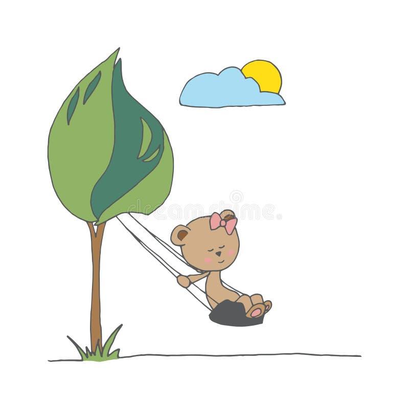 Main dessinant l'illustration numérique avec l'ours de bébé Teme fabriqué à la main photo stock