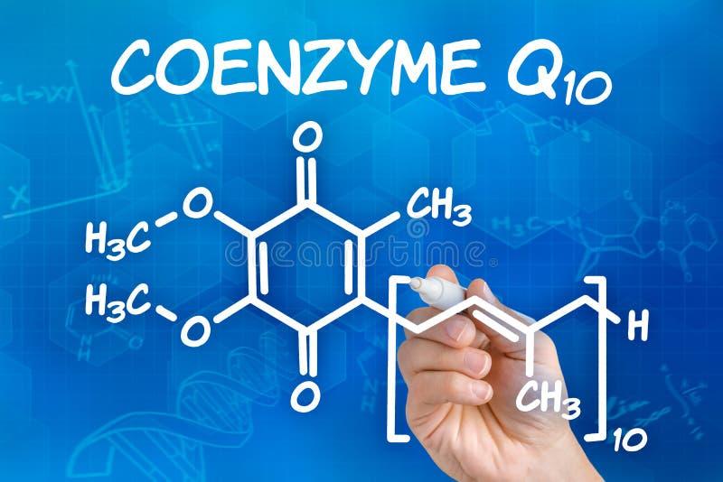 Main dessinant la formule chimique du coenzyme Q10 image stock