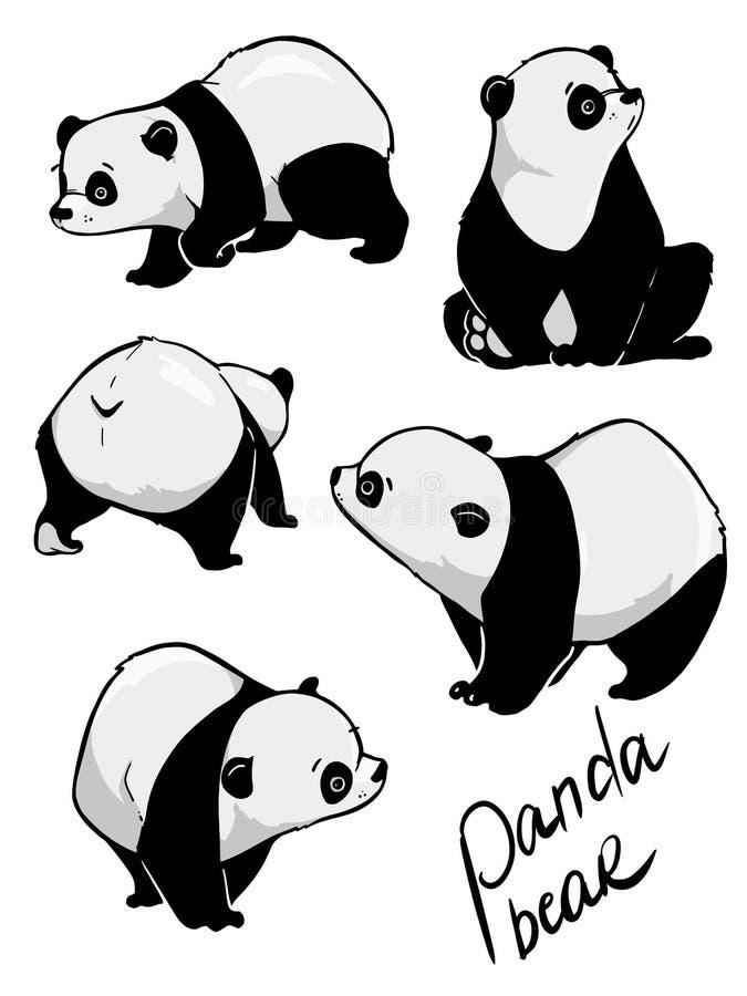 Main dessinant le panda mignon avec beaucoup de variation illustration de vecteur