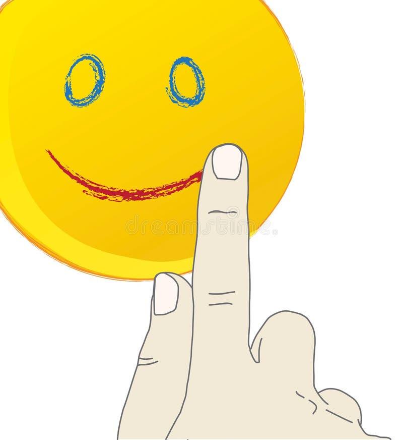 Main dessinant un visage de sourire illustration libre de droits