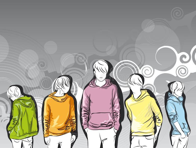 Main-dessinez le croquis de jeunes hommes dans des jupes colorées illustration stock