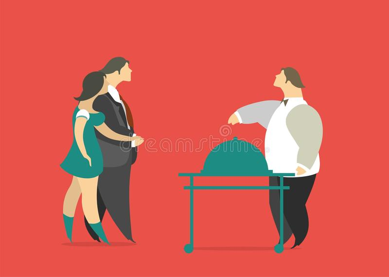 The Main Dish For Visitors. Stylized characters man and woman came to the restaurant chef came out to them with the main dish vector illustration