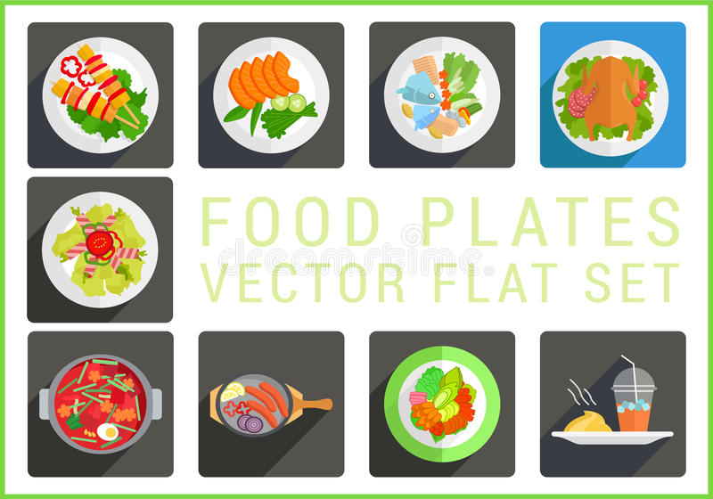 Main dishes flat vector icons. Main dishes flat vector modern icons set. Collection of various food plates pictograms stock illustration