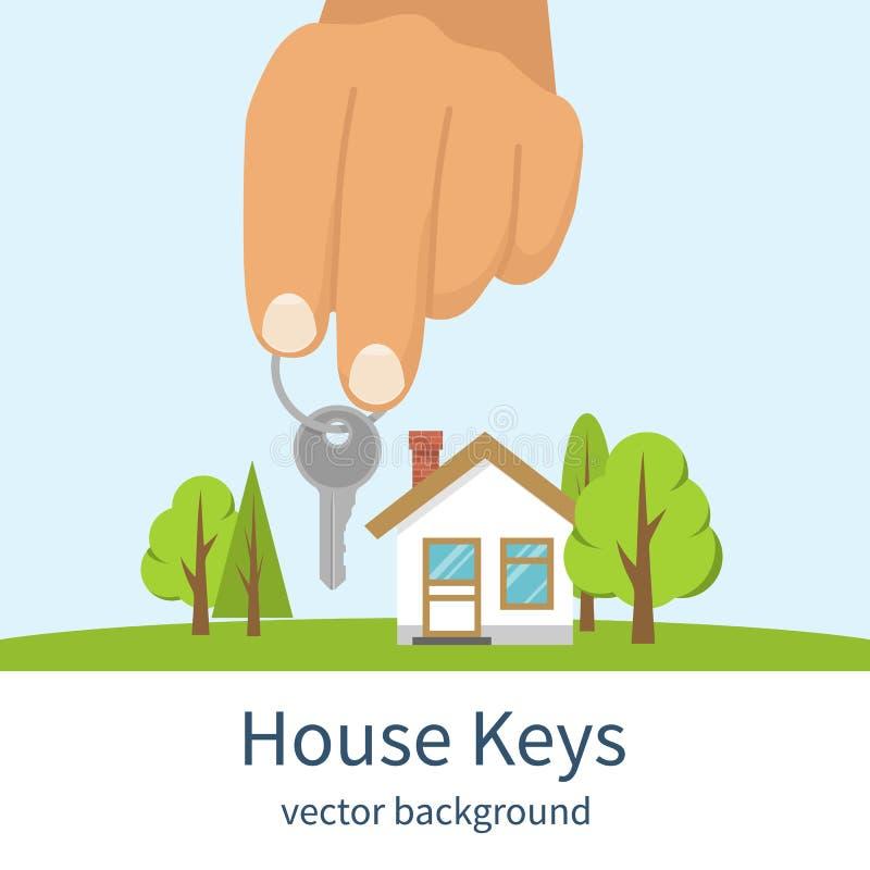 Main donnant des clés de maison illustration stock