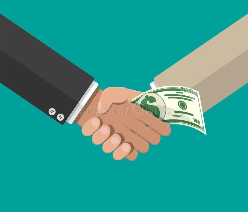 Main donnant l'argent à l'autre main illustration libre de droits