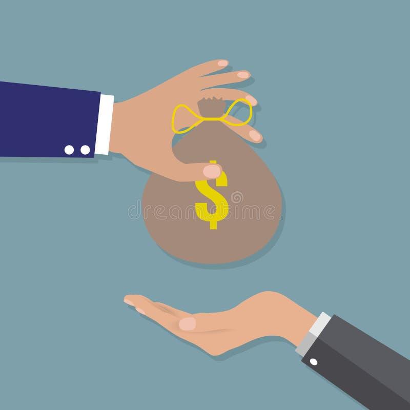 Main donnant l'argent à l'autre main illustration stock