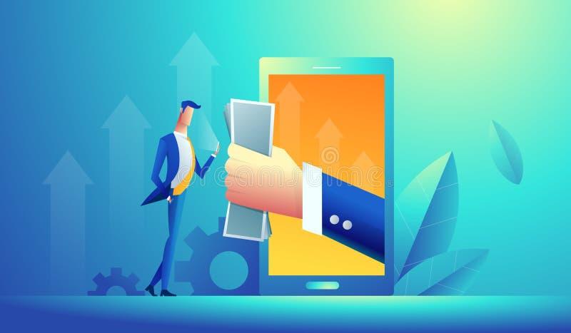 Main donnant l'argent à partir d'un ordinateur au jeune homme d'affaires Illustration plate moderne de vecteur de concept de styl illustration de vecteur