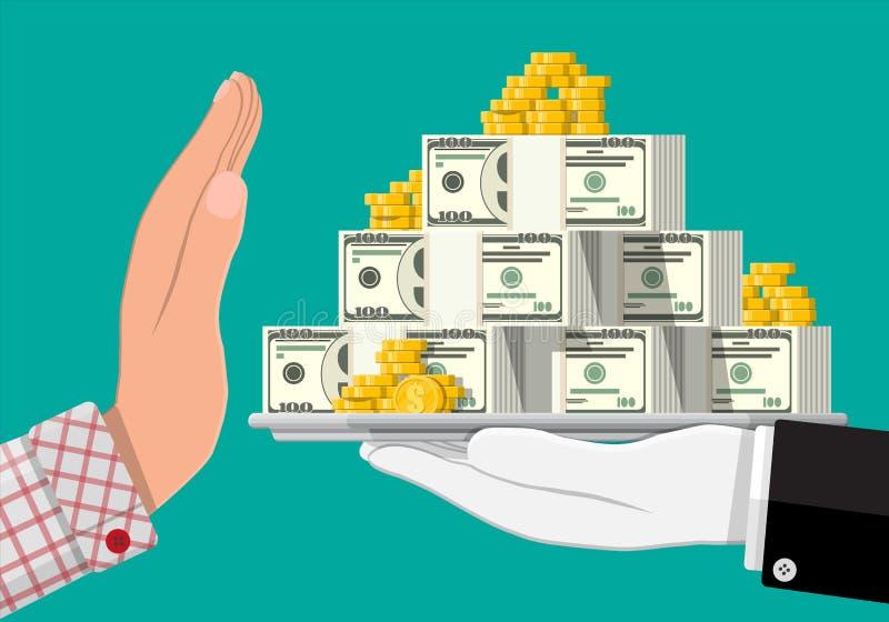 Main donnant l'argent ? l'autre main illustration de vecteur