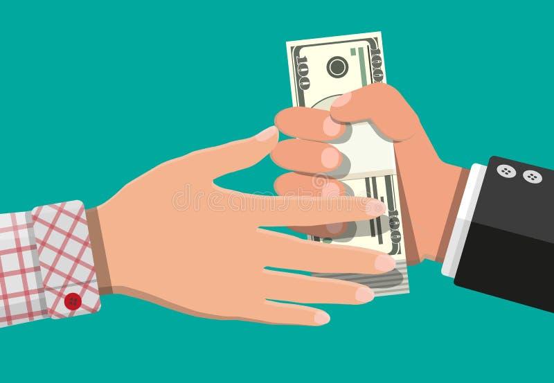 Main donnant l'argent ? l'autre main illustration libre de droits