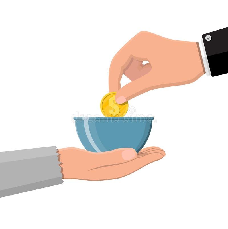 Main donnant la pièce d'or à la main de mendiant illustration de vecteur