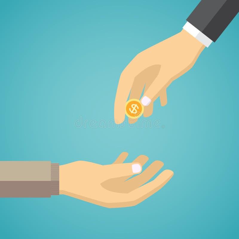 Main donnant la pièce de monnaie d'or à une autre main illustration stock