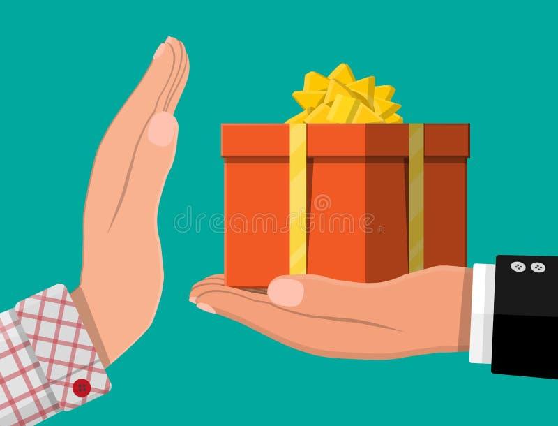 Main donnant le boîte-cadeau à l'autre main illustration libre de droits